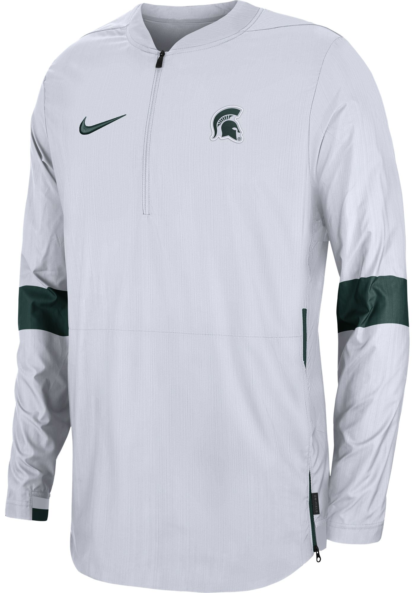 Nike Men's Michigan State Spartans Lockdown Half-Zip Football White Jacket