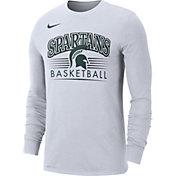 Nike Men's Michigan State Spartans Dri-FIT Retro Long Sleeve Basketball White T-Shirt