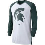 Nike Men's Michigan State Spartans White/Green Breathe Long Sleeve Shirt