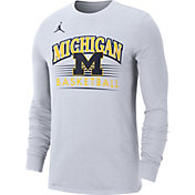 Jordan Men's Michigan Wolverines Dri-FIT Retro Long Sleeve Basketball White T-Shirt