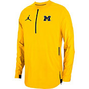 Jordan Men's Michigan Wolverines Maize Lockdown Football Quarter-Zip Jacket