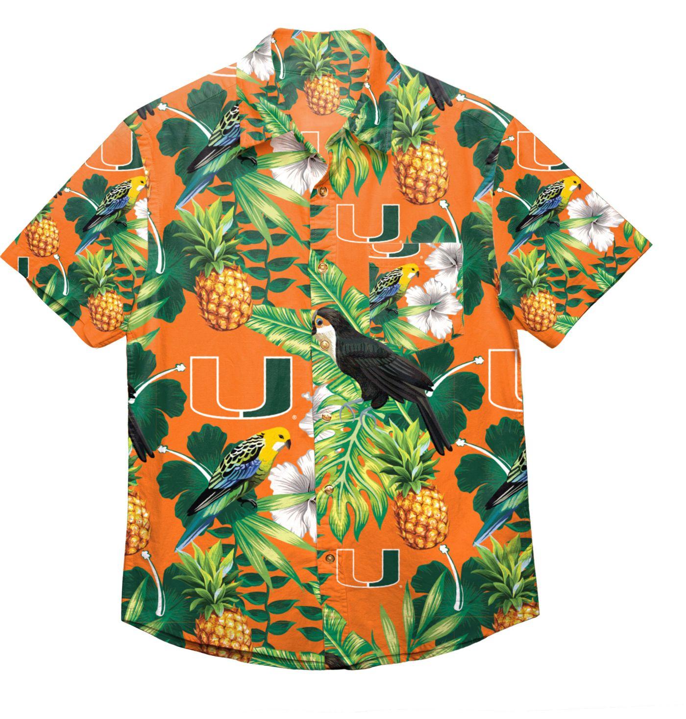 FOCO Men's Miami Hurricanes Green Floral Button-Up Shirt