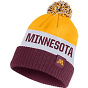Nike Men's Minnesota Golden Gophers Gold/White/Maroon Striped Cuffed Pom Beanie