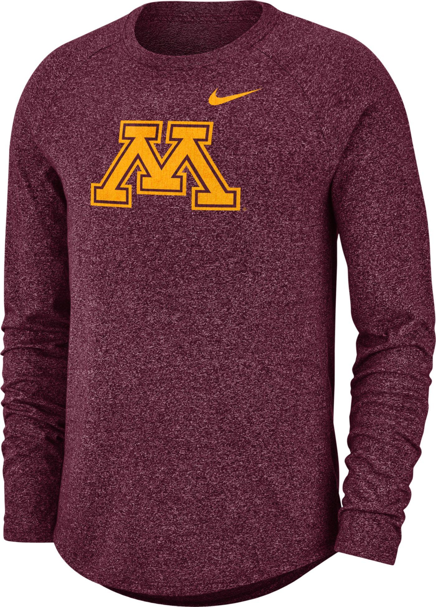 Nike Men's Minnesota Golden Gophers Maroon Marled Raglan Long Sleeve T-Shirt