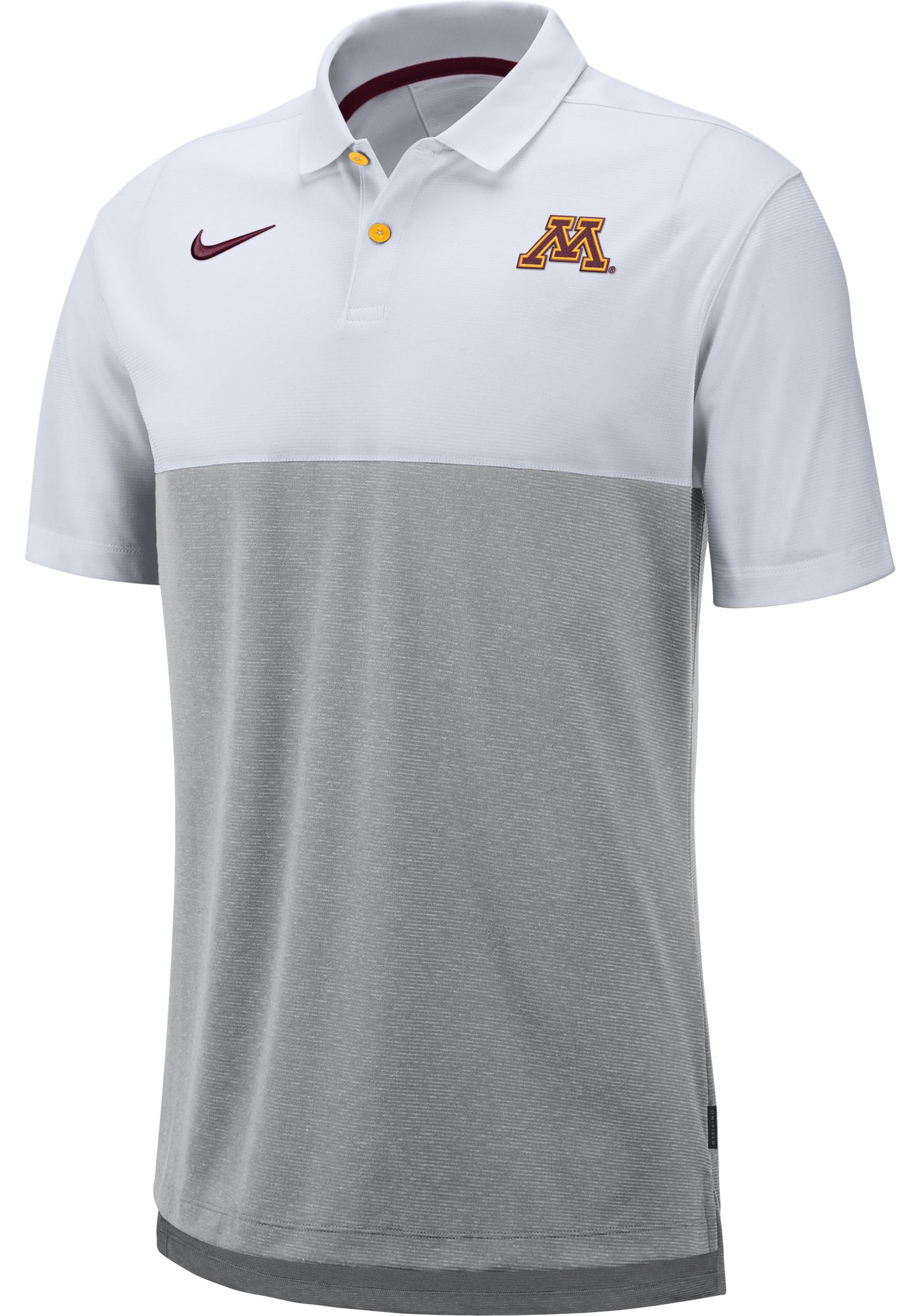 Nike Men's Minnesota Golden Gophers White/Grey Dri-FIT Breathe Football Sideline Polo