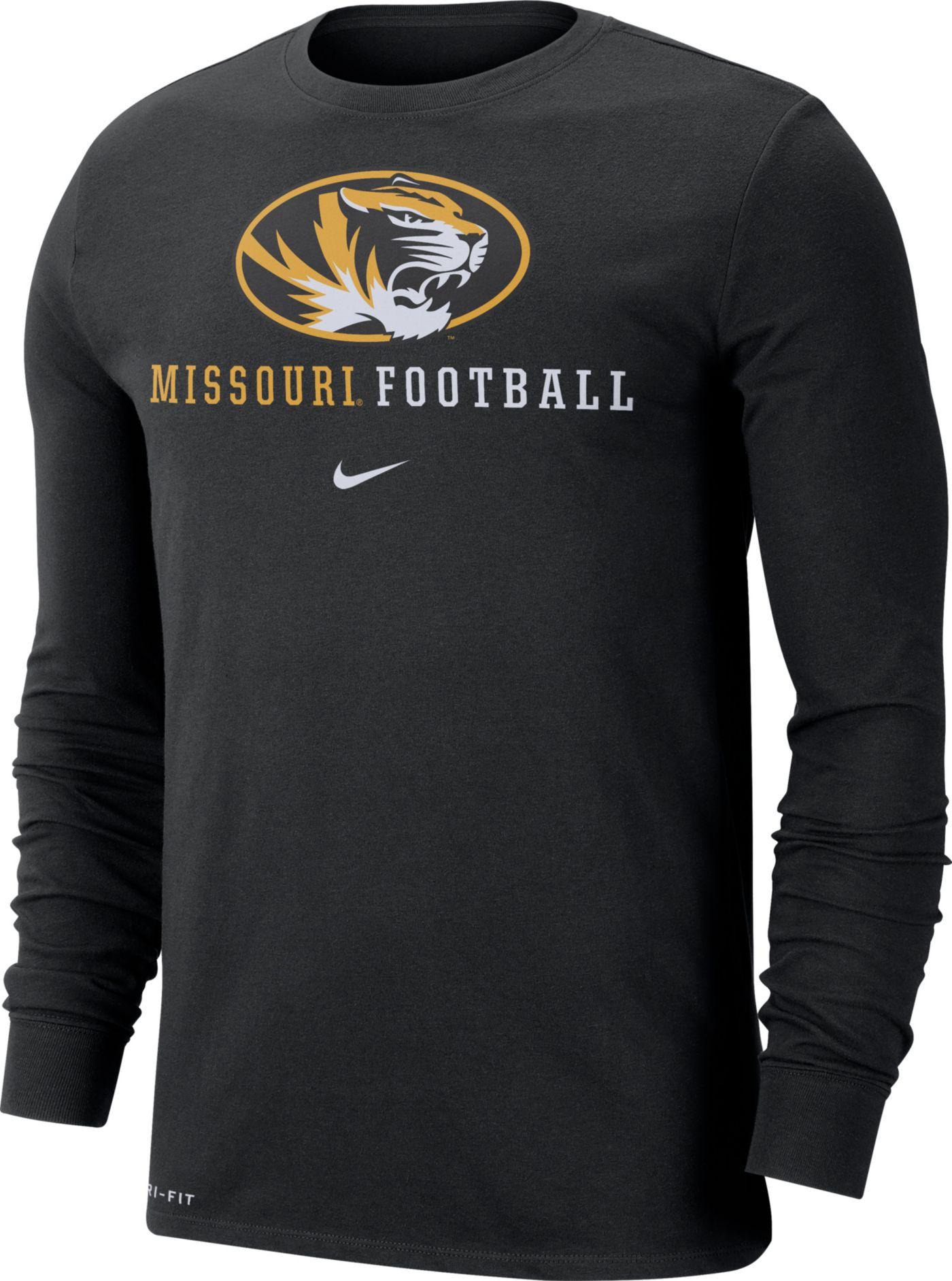 Nike Men's Missouri Tigers Football Icon Wordmark Long Sleeve Black T-Shirt