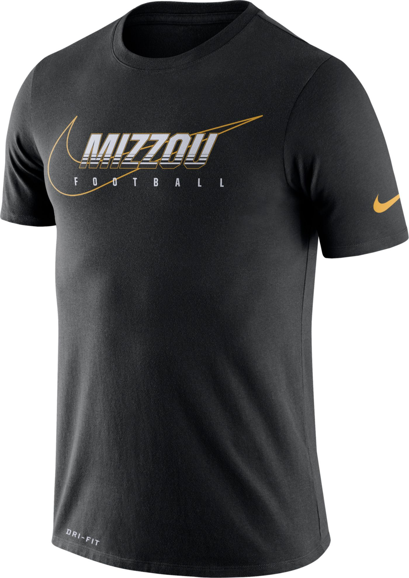 Nike Men's Missouri Tigers Football Dri-FIT Cotton Facility Black T-Shirt