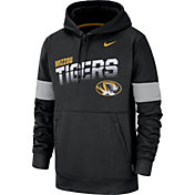 Nike Men's Missouri Tigers Therma Football Sideline Pullover Black Hoodie