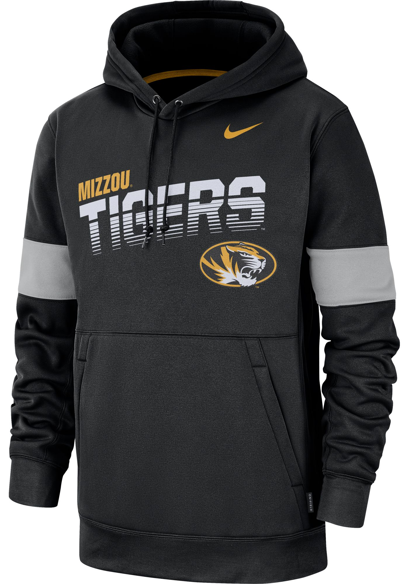 Nike Men's Missouri Tigers Therma Football Sideline Pullover Black Hoodie