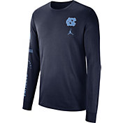 Jordan Men's North Carolina Tar Heels Navy Dri-FIT Elevated Basketball Long Sleeve Shirt