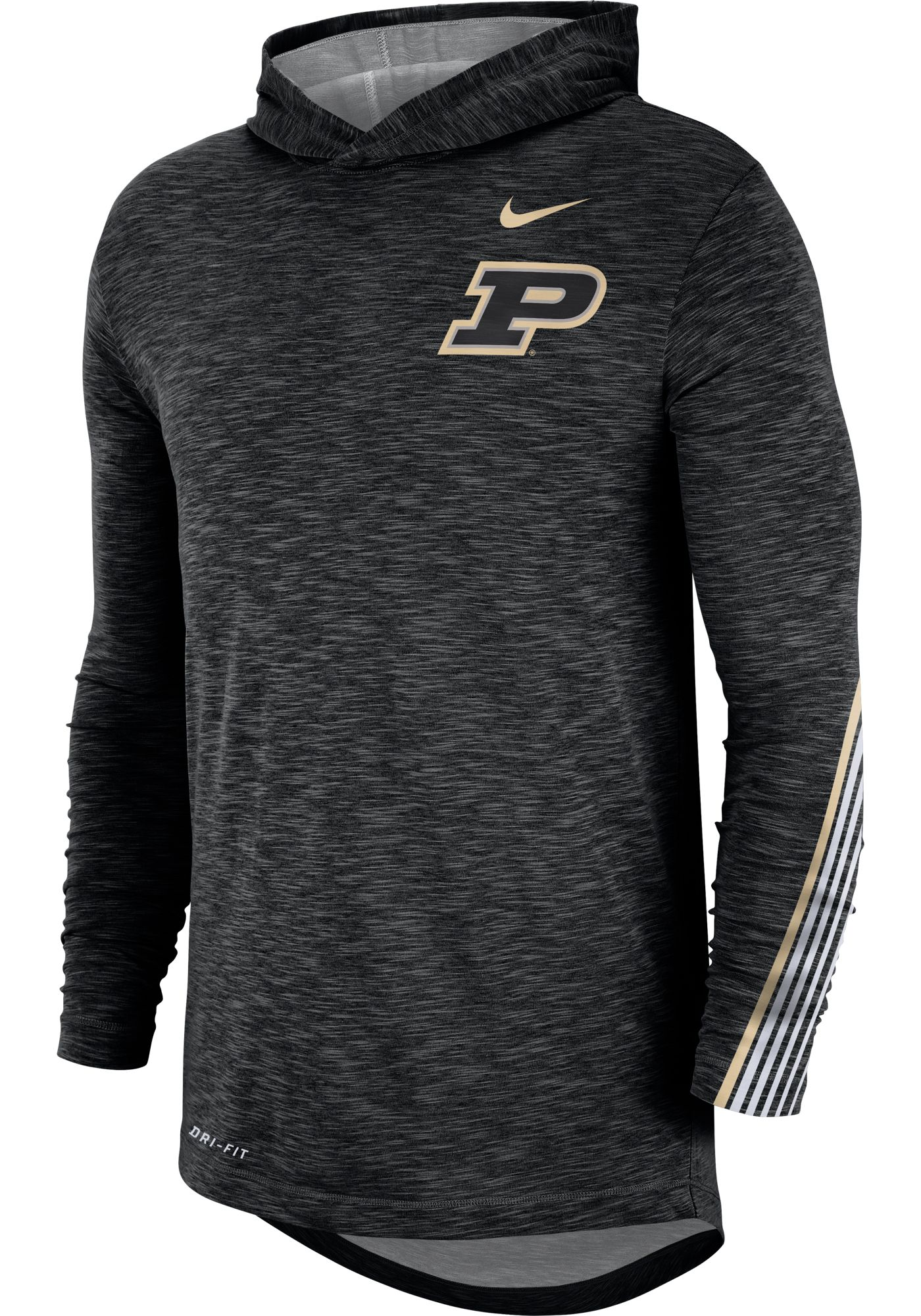 Nike Men's Purdue Boilermakers Cotton Long Sleeve Hoodie Black T-Shirt