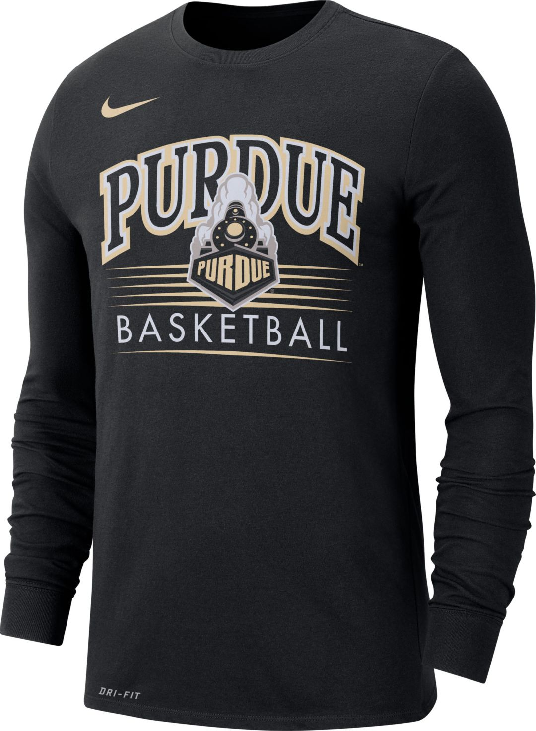 super cute best price casual shoes Nike Men's Purdue Boilermakers Dri-FIT Retro Long Sleeve Basketball Black  T-Shirt