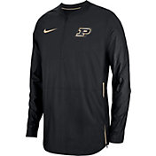 Nike Men's Purdue Boilermakers Lockdown Football Quarter-Zip Black Jacket