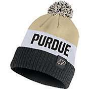 Nike Men's Purdue Boilermakers Old Gold/White/Black Striped Cuffed Pom Beanie