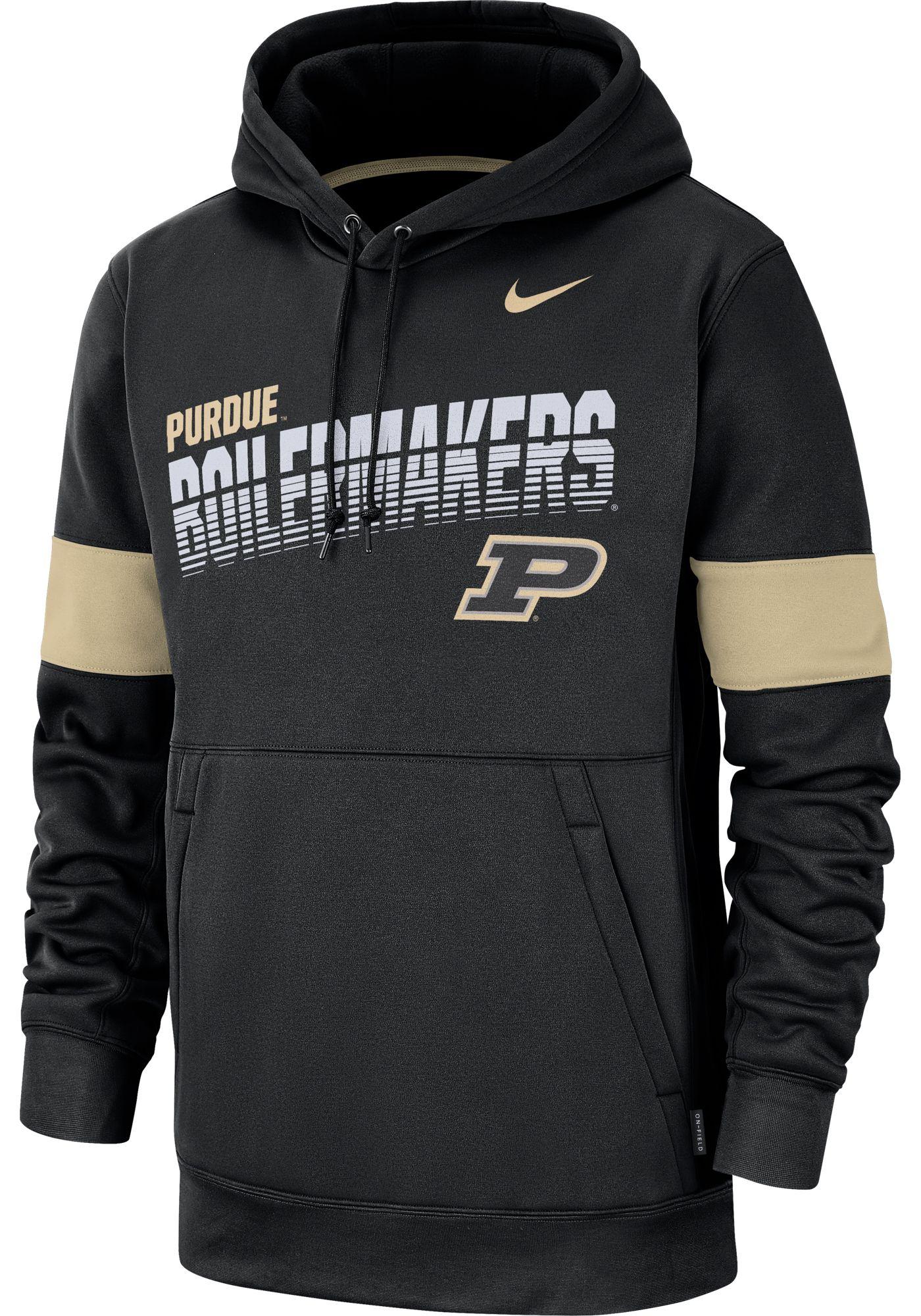 Nike Men's Purdue Boilermakers Therma Football Sideline Pullover Black Hoodie