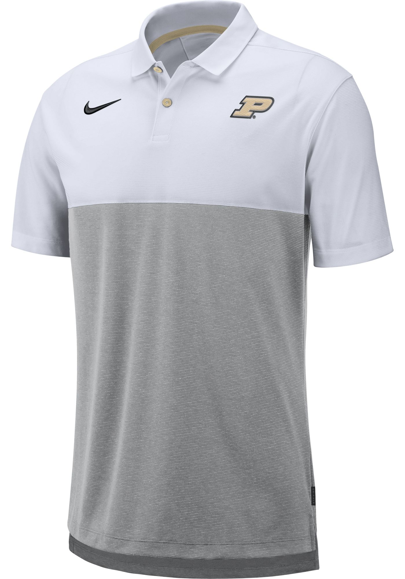 Nike Men's Purdue Boilermakers White/Grey Dri-FIT Breathe Football Sideline Polo