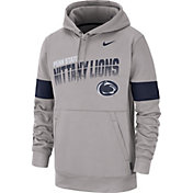 Nike Men's Penn State Nittany Lions Grey Therma Football Sideline Pullover Hoodie
