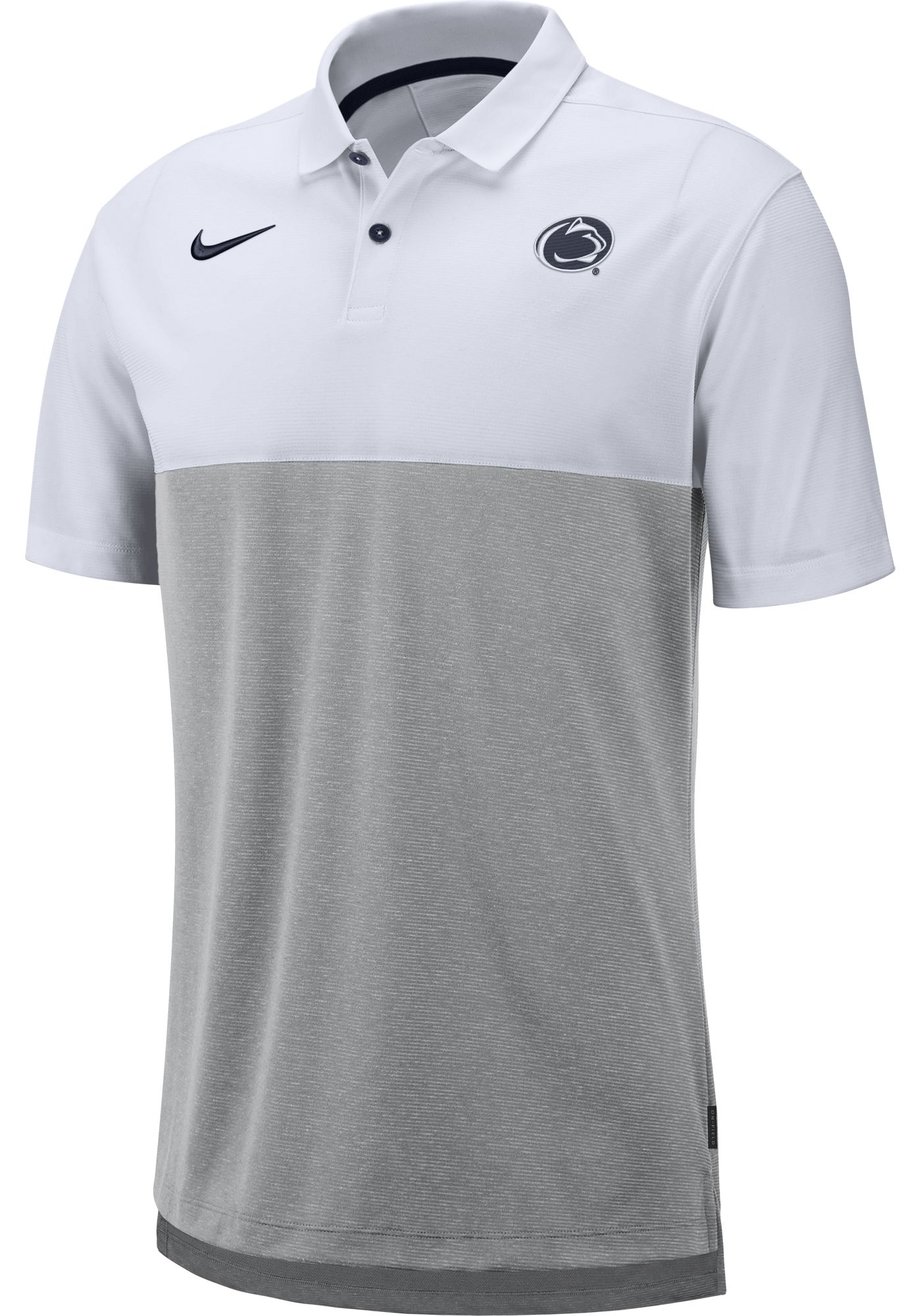 Nike Men's Penn State Nittany Lions White/Grey Dri-FIT Breathe Football Sideline Polo