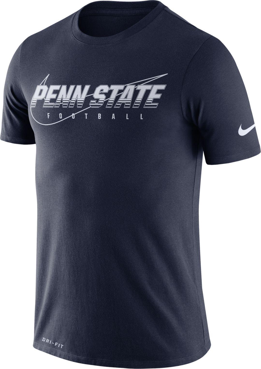 new concept ba673 e367c Nike Men's Penn State Nittany Lions Blue Football Dri-FIT Cotton Facility  T-Shirt