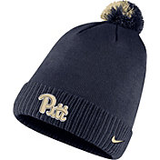 Nike Men's Pitt Panthers Blue Football Sideline Pom Beanie