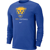 Nike Men's Pitt Panthers Blue Football Icon Wordmark Long Sleeve T-Shirt