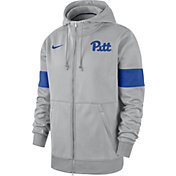 Nike Men's Pitt Panthers Grey Therma Football Sideline Full-Zip Hoodie