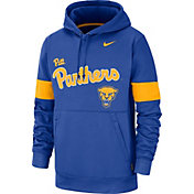 Nike Men's Pitt Panthers Blue Therma Football Sideline Pullover Hoodie