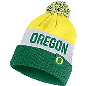 Nike Men's Oregon Ducks Yellow/White/Green Striped Cuffed Pom Beanie
