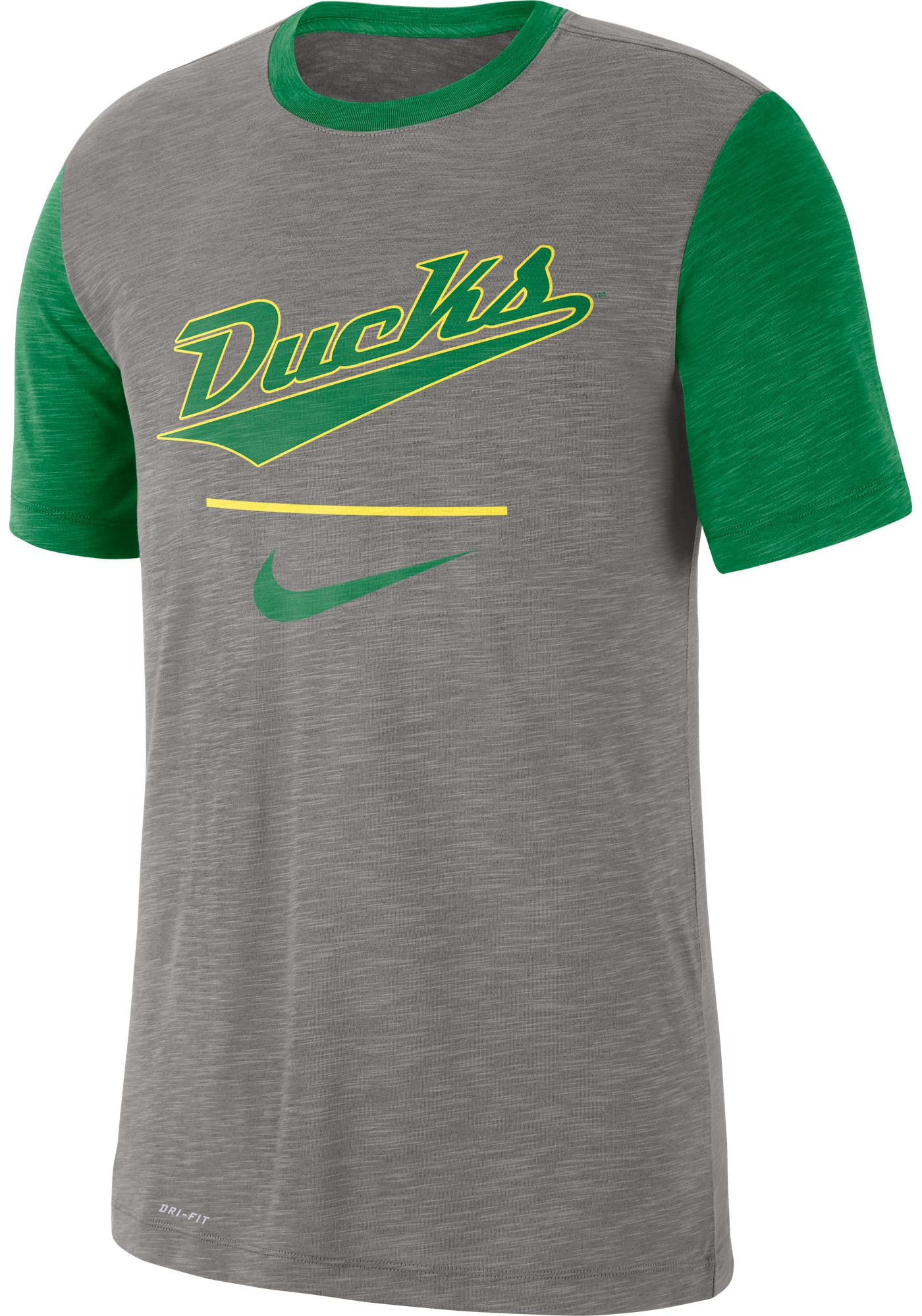 Nike Men's Oregon Ducks Grey Dri-FIT Baseball Slub T-Shirt