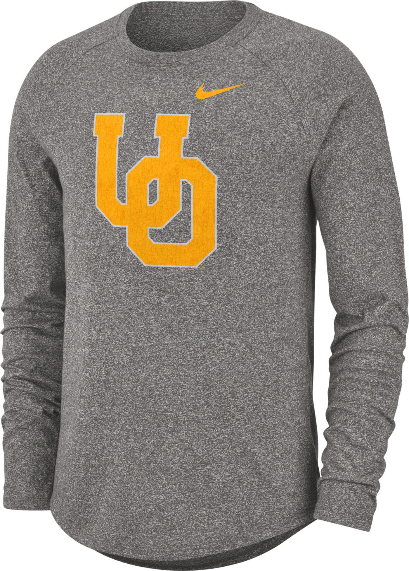 Nike Men's Oregon Ducks Grey Marled Raglan Long Sleeve T-Shirt