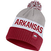 Nike Men's Arkansas Razorbacks Grey/White/Cardinal Striped Cuffed Pom Beanie