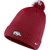 Nike Men's Arkansas Razorbacks Cardinal Football Sideline Pom Beanie