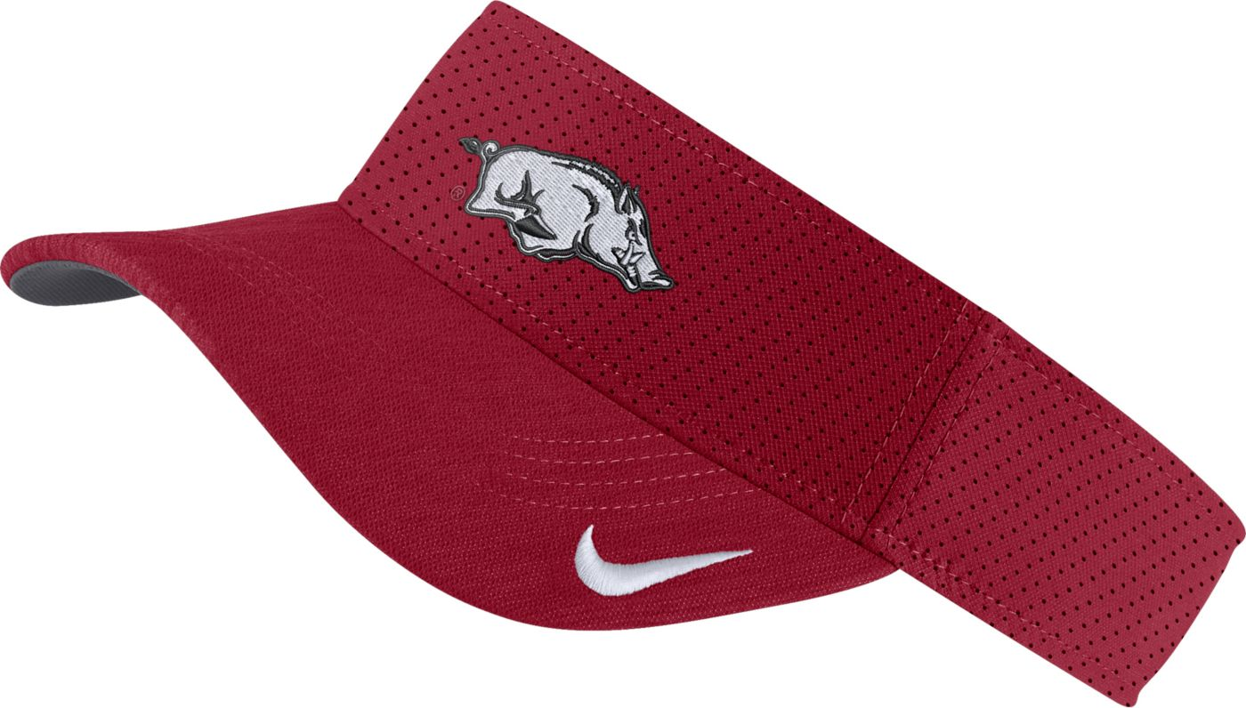 Nike Men's Arkansas Razorbacks Cardinal AeroBill Football Sideline Visor