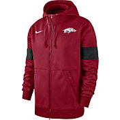 Nike Men's Arkansas Razorbacks Cardinal Therma Football Sideline Full-Zip Hoodie