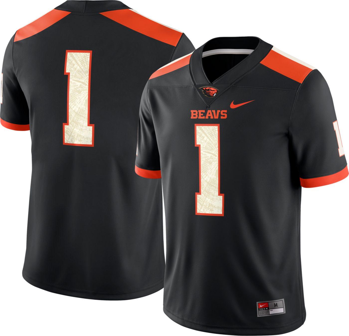 Nike Men's Oregon State Beavers #1 Dri-FIT Game Football Black Jersey