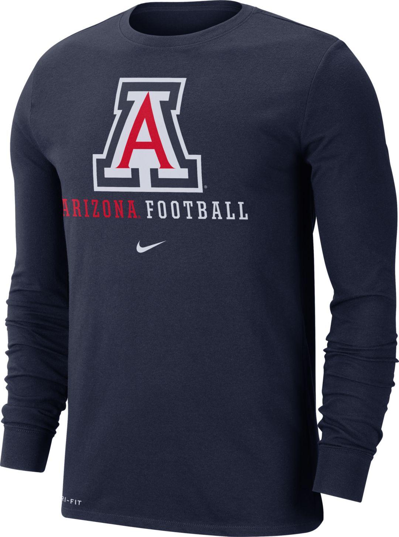 Nike Men's Arizona Wildcats Navy Football Icon Wordmark Long Sleeve T Shirt