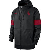 Nike Men's USC Trojans Therma Football Sideline Full-Zip Black Hoodie