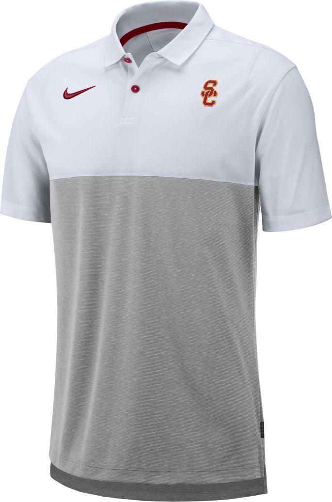 9af4327e8 Nike Men's USC Trojans White/Grey Dri-FIT Breathe Football Sideline Polo