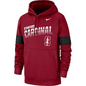 Nike Men's Stanford Cardinal Therma Football Sideline Pullover Cardinal Hoodie