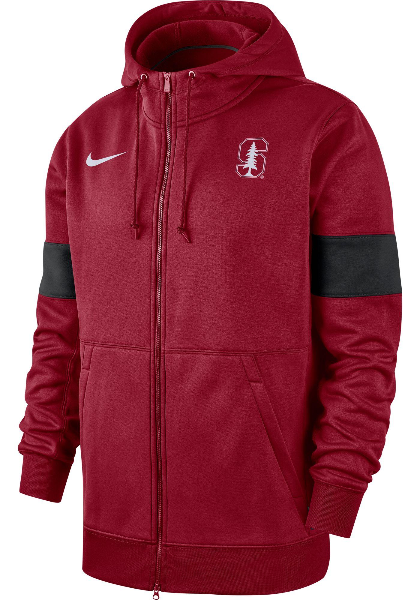Nike Men's Stanford Cardinal Therma Football Sideline Full-Zip Cardinal Hoodie