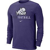 Nike Men's TCU Horned Frogs Purple Football Icon Wordmark Long Sleeve T-Shirt