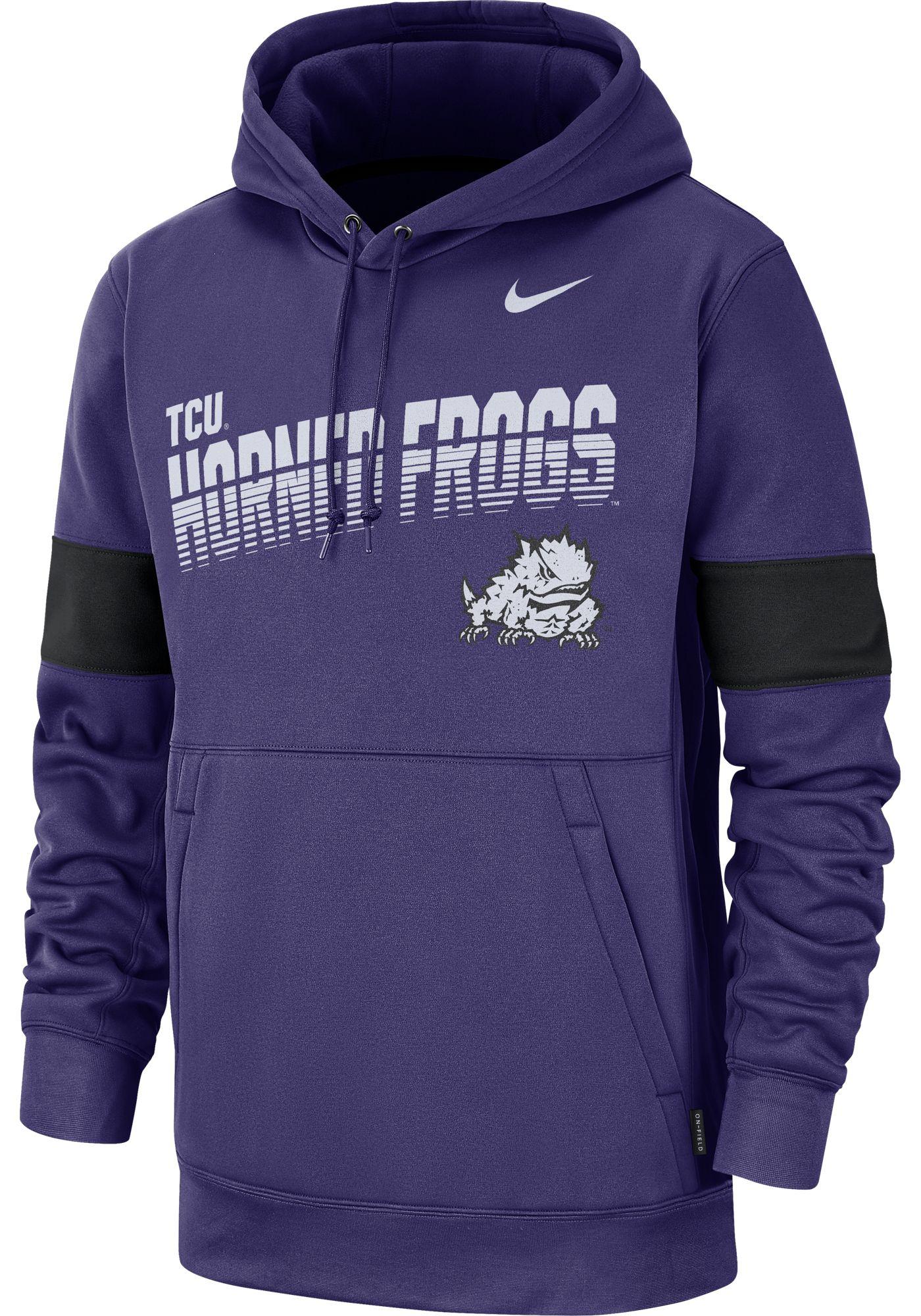 Nike Men's TCU Horned Frogs Purple Therma Football Sideline Pullover Hoodie