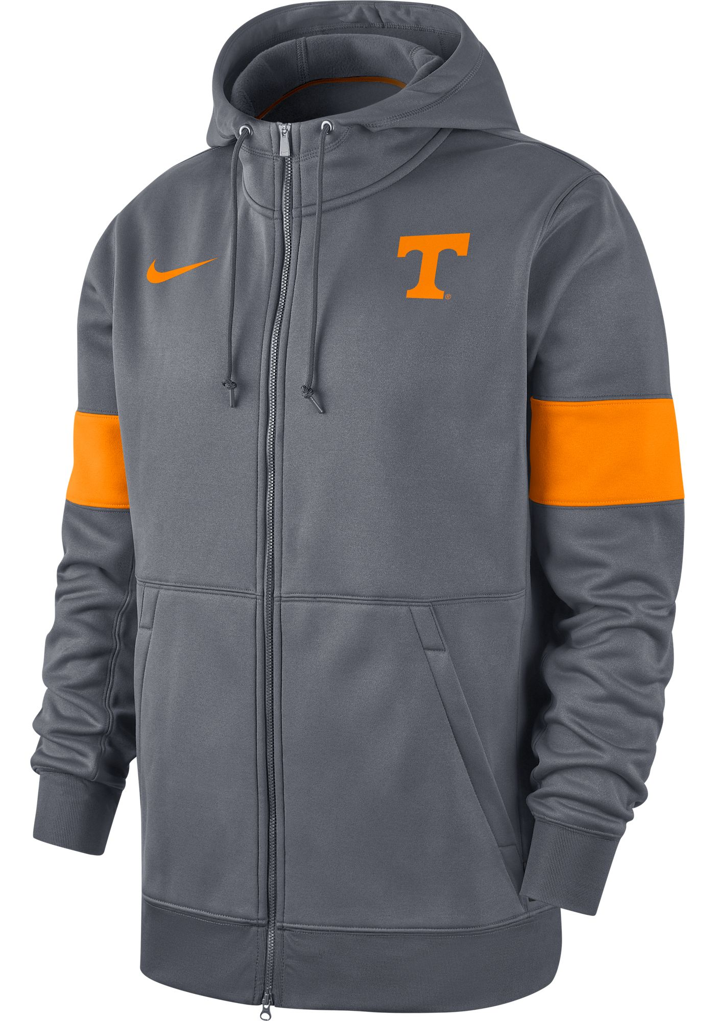 Nike Men's Tennessee Volunteers Grey Therma Football Sideline Full-Zip Hoodie