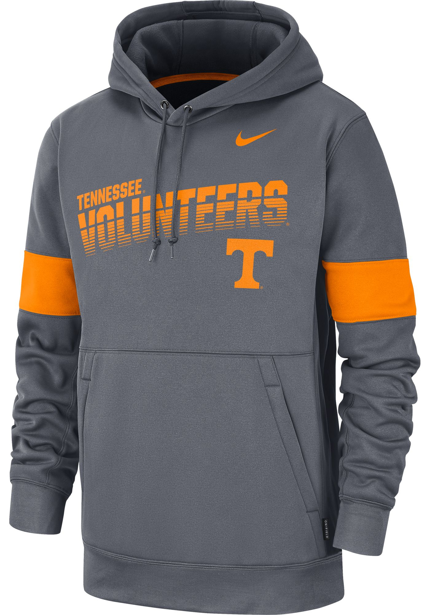 Nike Men's Tennessee Volunteers Grey Therma Football Sideline Pullover Hoodie