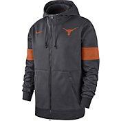 Nike Men's Texas Longhorns Grey Therma Football Sideline Full-Zip Hoodie