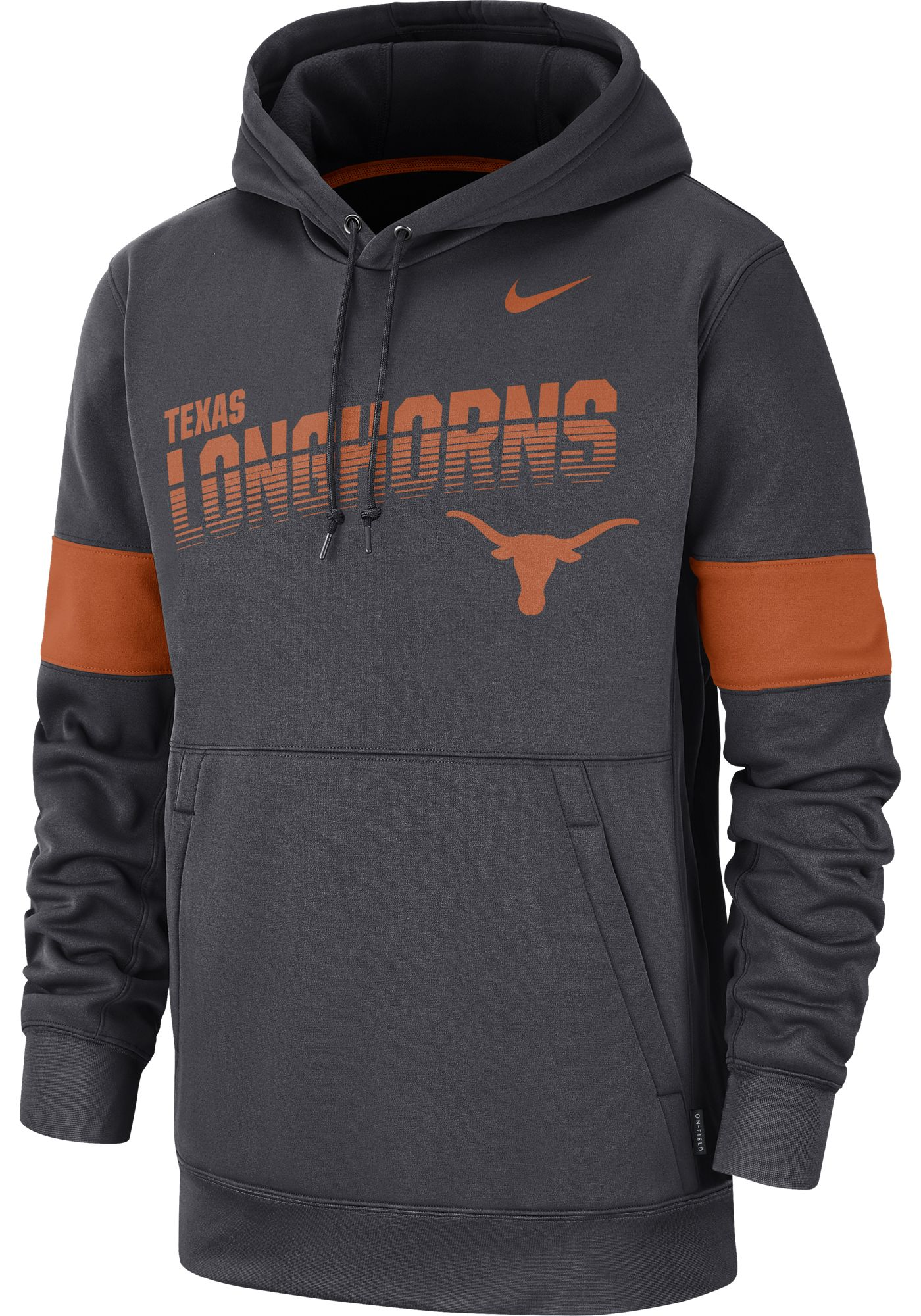 Nike Men's Texas Longhorns Grey Therma Football Sideline Pullover Hoodie