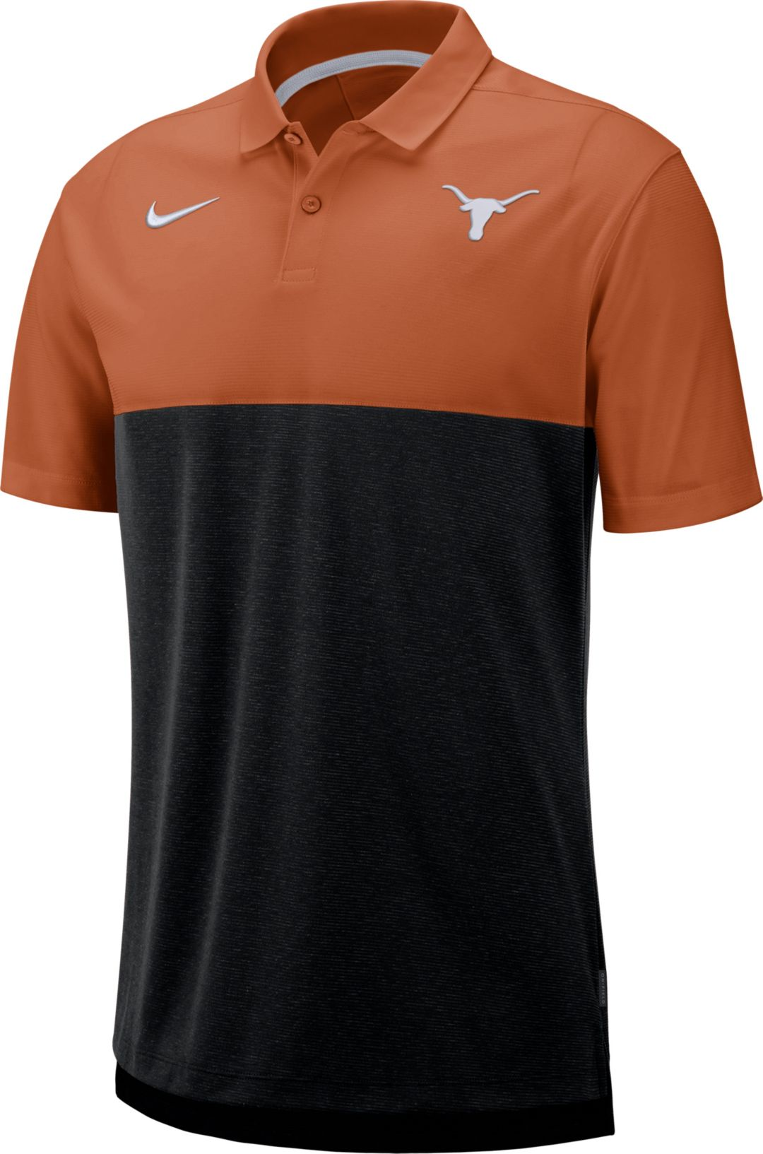 992d18e8 Nike Men's Texas Longhorns Burnt Orange/Black Dri-FIT Breathe Football  Sideline Polo