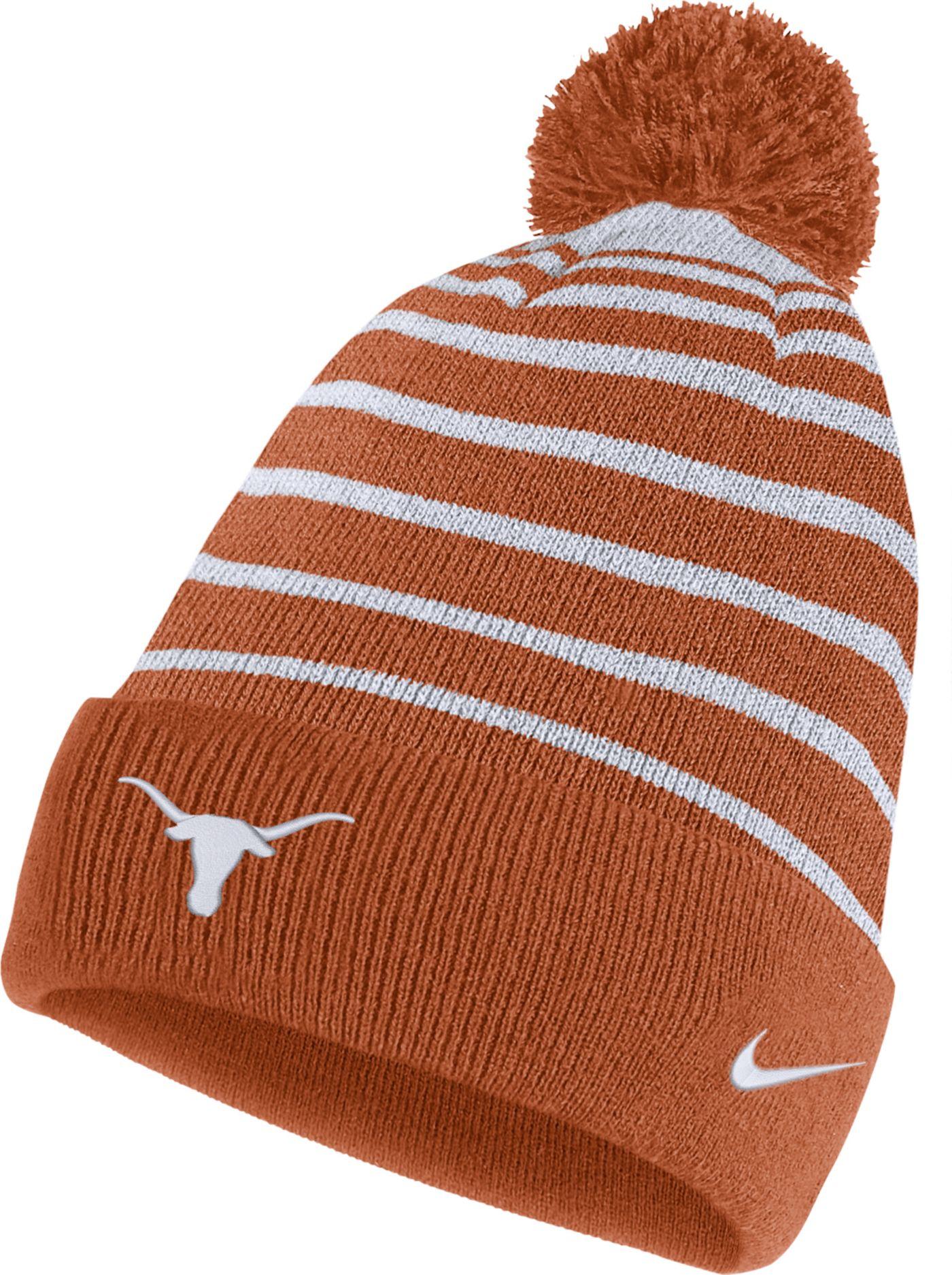 Nike Men's Texas Longhorns Burnt Orange Football Sideline Cuffed Pom Beanie