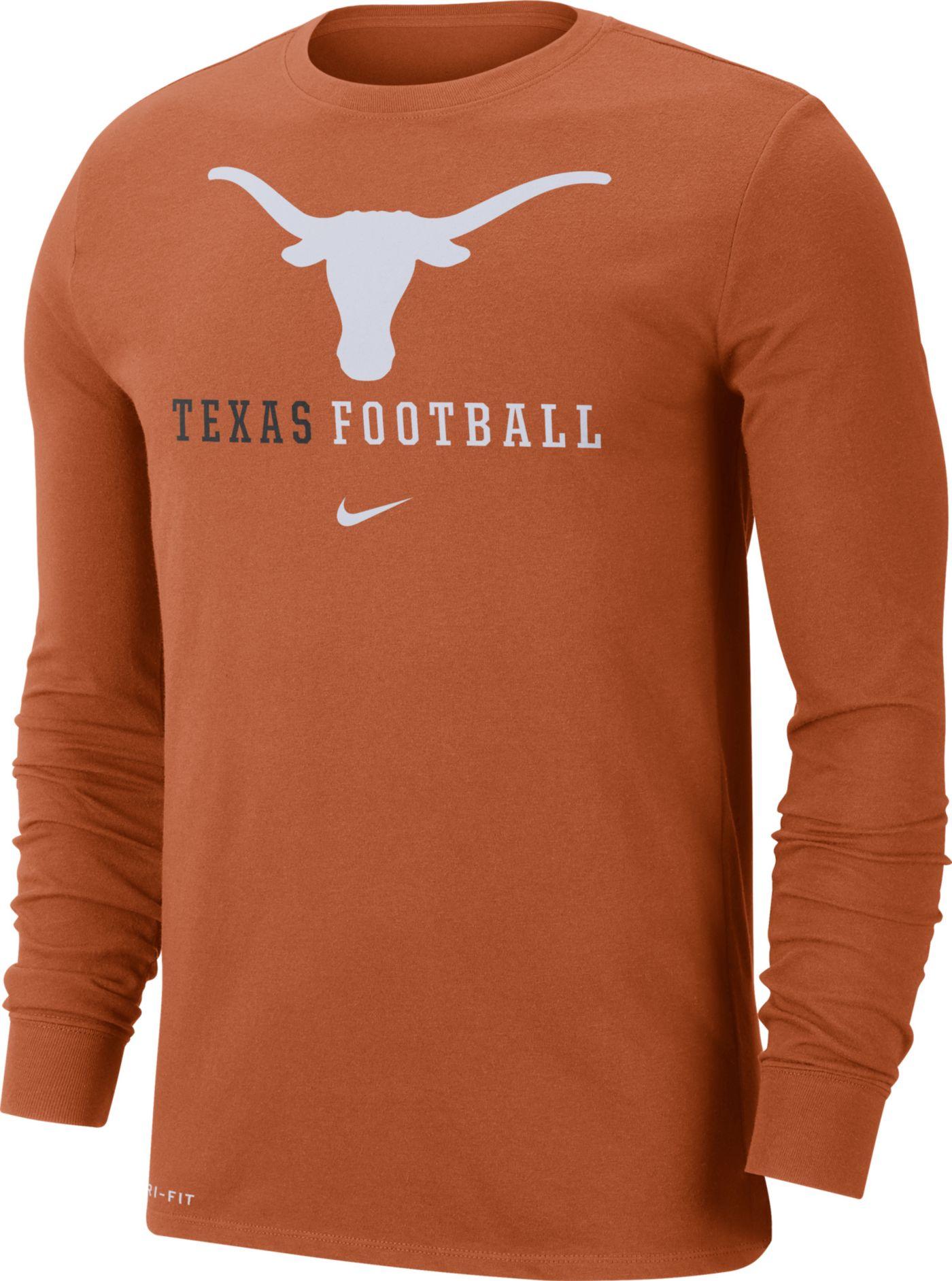 Nike Men's Texas Longhorns Burnt Orange Football Icon Wordmark Long Sleeve T-Shirt