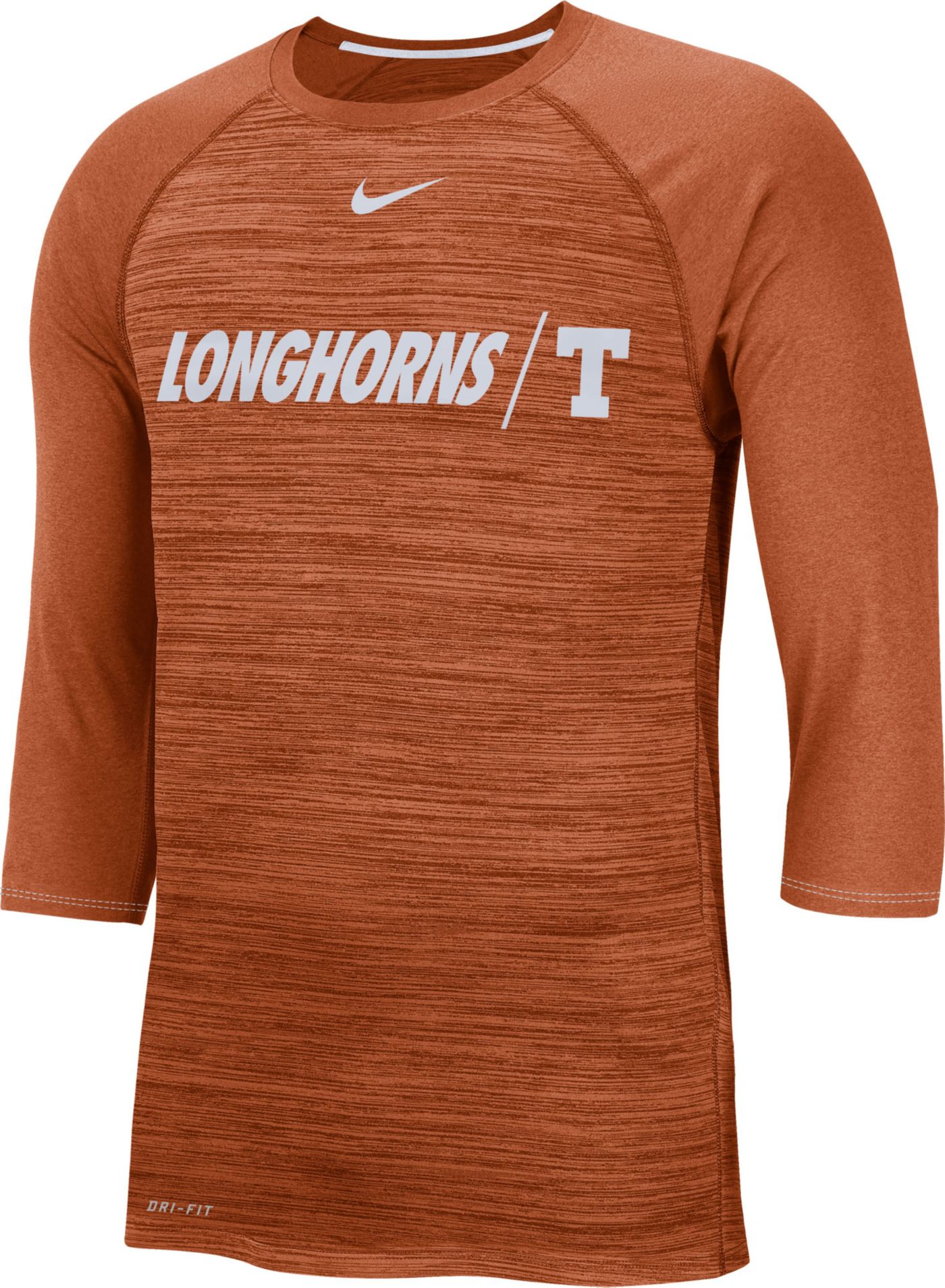 Nike Men's Texas Longhorns Burnt Orange Dry Legend 3/4 Sleeve T-Shirt